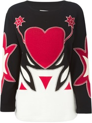 Moschino Vintage Applique Heart Sweater Black