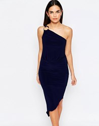 Jessica Wright Perry One Shoulder Asymmetric Hem Dress With Disc Detail Navy