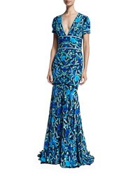 Naeem Khan Short Sleeve V Neck Mermaid Gown Blue Green Multi Blue Green Multi