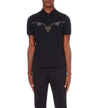 Gucci Embroidered Stretch Cotton Polo Shirt Ink Ecru