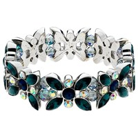 Monet Ab Navette And Round Cut Glass Crystal Stretch Bracelet Multi