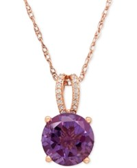 Macy's Amethyst 2 1 2 Ct. T.W. And Diamond 1 10 Ct. T.W. Pendant Necklace In 14K Rose Gold Purple