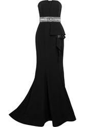 Mikael Aghal Embellished Ruffled Crepe De Chine Gown Black