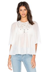 Rebecca Taylor Short Sleeve Mirror Eyelet Top White