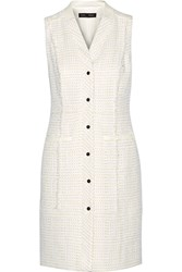 Proenza Schouler Leather Trimmed Boucle Tweed Dress White