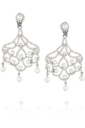 Kenneth Jay Lane Silver Tone Crystal And Faux Pearl Clip Earrings