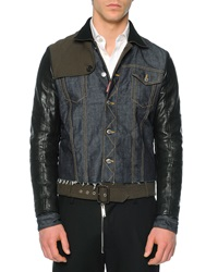 Dsquared2 Mixed Media Denim Leather Jacket Blue