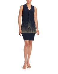 Betsy And Adam Embellished Tiered Shift Dress Navy Gold