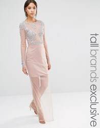 Maya Tall All Over Mesh Maxi Dress With Embellished Bodice Detail Pink