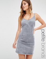 New Look Petite Denim Acid Wash Bodycon Dress Grey
