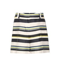 Jil Sander Striped Linen And Silk Blend Shorts Multicoloured