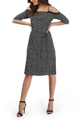 Topshop Women's Lace Trim Geo Print Plisse Cold Shoulder Dress