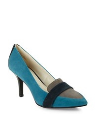 Anne Klein Youly Colorblocked Suede Pumps Turquoise