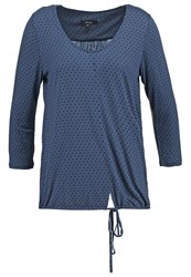 Opus Sammi Retro Long Sleeved Top Marina Dark Blue