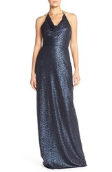 Women's Amsale Draped Sequin Tulle Halter Gown
