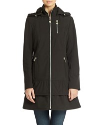 Betsey Johnson Hooded Zip Front Jacket Black