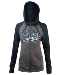 5Th And Ocean Women's Seattle Seahawks Arch Full Zip Hoodie Gray Navy