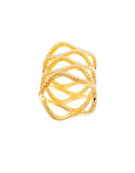 Lord And Taylor Cubic Zirconia Wide Wavy Shield Ring Gold