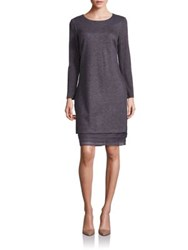 Peserico Tiered Hem Shift Dress Charcoal