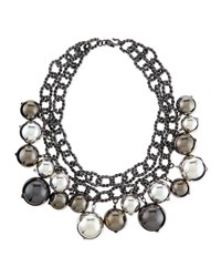 Double Strand Beaded Statement Necklace Pewter Women's Kenneth Jay Lane