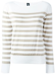 Eleventy Striped 3 4 Sleeve Jumper White