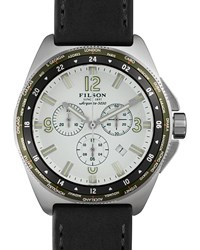 44Mm Journeyman Gmt Watch With Leather Strap Black White Filson Silver