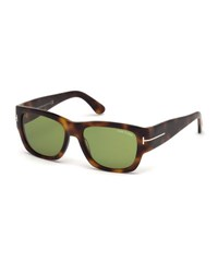 Tom Ford Stephen Acetate Wrap Sunglasses Havana Rose Gold
