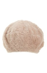 Sole Society Women's Faux Fur Beret White Cream