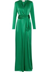 Lanvin Wrap Effect Silk Satin Gown Green