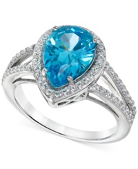 B. Brilliant Giani Bernini Aqua And Clear Cubic Zirconia Ring In Sterling Silver