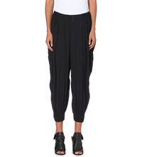 Issey Miyake Cropped Woven Trousers Black