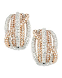 18K Rose And White Gold Pave Diamond Crossover Earrings Roberto Coin Pink