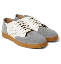 Loewe Suede And Leather Sneakers White