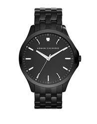 Armani Exchange Diamond And Black Plated Stainless Steel Bracelet Watch