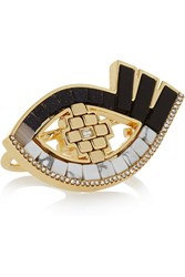 Lulu Frost Lumen Gold Plated Multi Stone Two Finger Ring Metallic