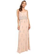 Adrianna Papell Sleeveless Beaded Popover Gown English Rose Women's Dress Pink