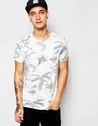 Pullandbear T Shirt With All Over Floral Print White