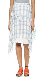 Raquel Allegra Handkerchief Silk Skirt White And Blue Print
