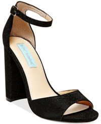 Blue By Betsey Johnson Carly Block Heel Sandals Women's Shoes Black