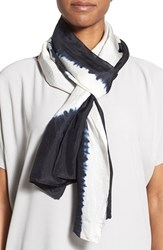 Women's Eileen Fisher Shibori Silk Scarf Black Black White