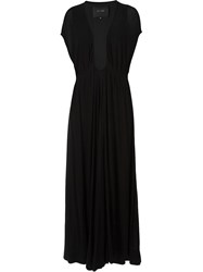 Jay Ahr Plunging Neck Evening Dress Black