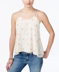 Miss Me Printed Halter Strap Tank Top Ivory White