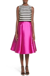 Soloiste Striped Midi Two Piece Dress Fuschia Black White