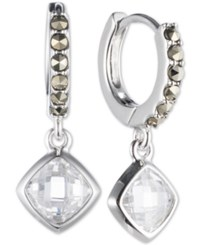 Judith Jack Sterling Silver Marcasite Hoop Crystal Drop Earrings