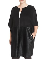 Lafayette 148 New York Plus Makayla Calf Hair Coat Black
