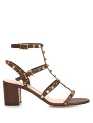 Valentino Rockstud Rolling Leather Sandals Dark Brown