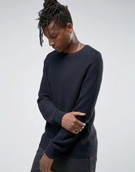 Selected Homme Crew Neck Waffle Knit With Raglan Sleeve Navy