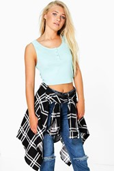 Boohoo Popper Front Crop Cotton Vest Mint