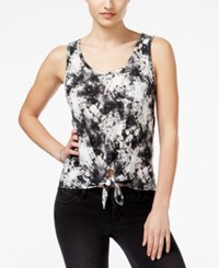 Rebellious One Juniors' Printed Tie Front Tank Top Quiet Shade White