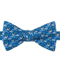 Tommy Hilfiger Men's Tropical Print To Tie Bow Tie Royal Blue